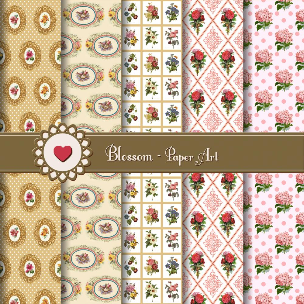 Pink & Ocher Vintage Flowers Digital Scrapbooking Paper - Download Image - 12x12 inches - 300dpi