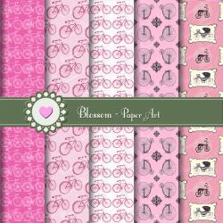 Pink Bicycles Scrapbook - Digital Scrapbooking Paper - Vintage - Download Images - Printables - Blossom Paper Art